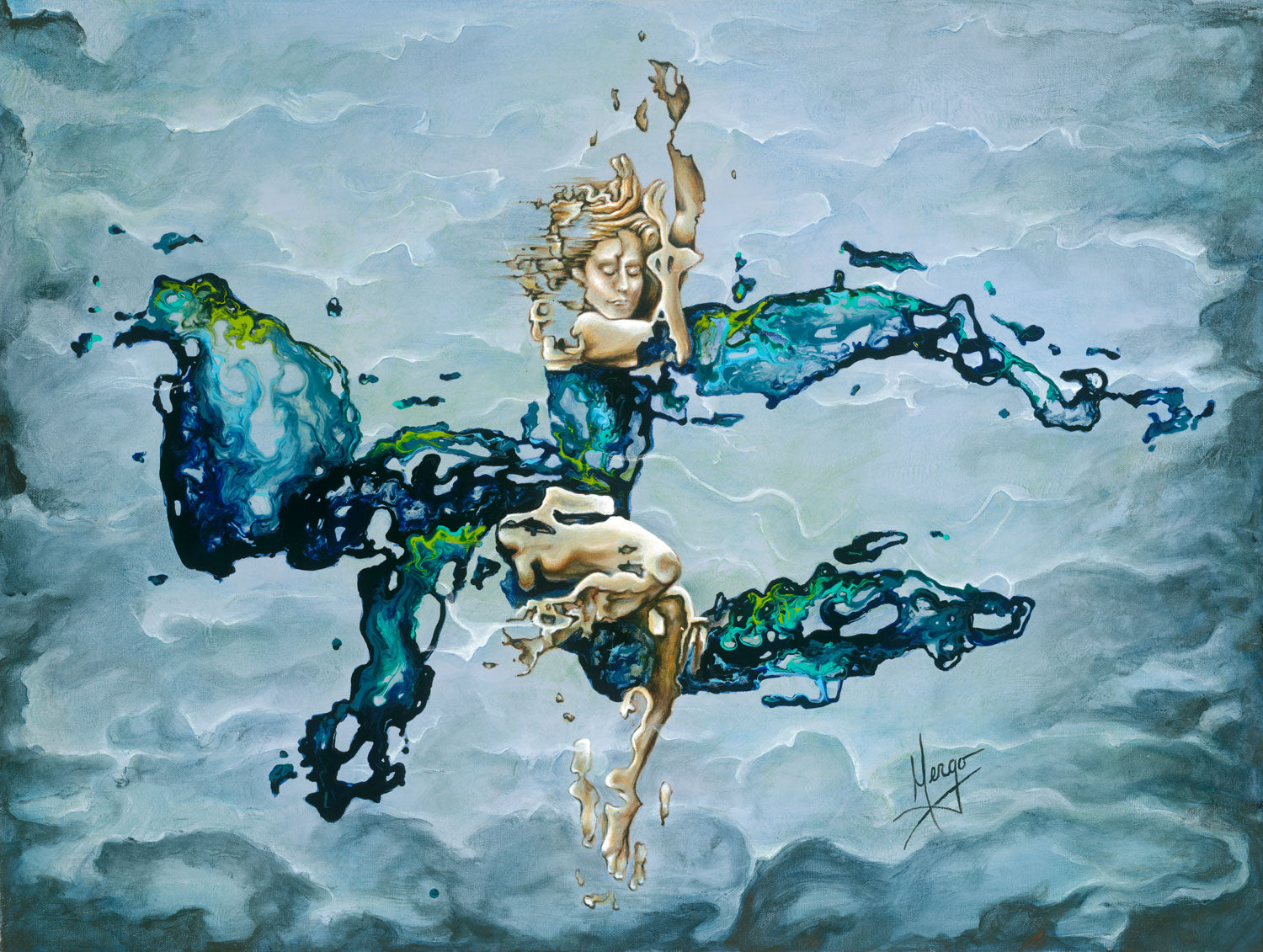 """Dream"" woman underwater abstract figurative painting in blue"