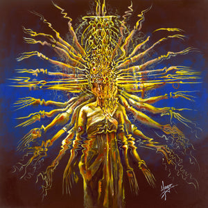 """hands of compassion"" abstract painting of a thousand hand dancer in blue and yellow"