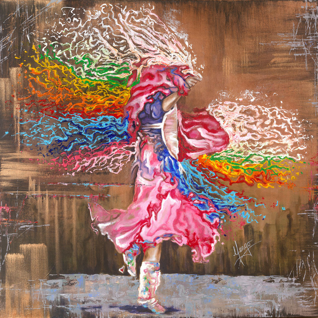 Colorful native dancer painting with shawl