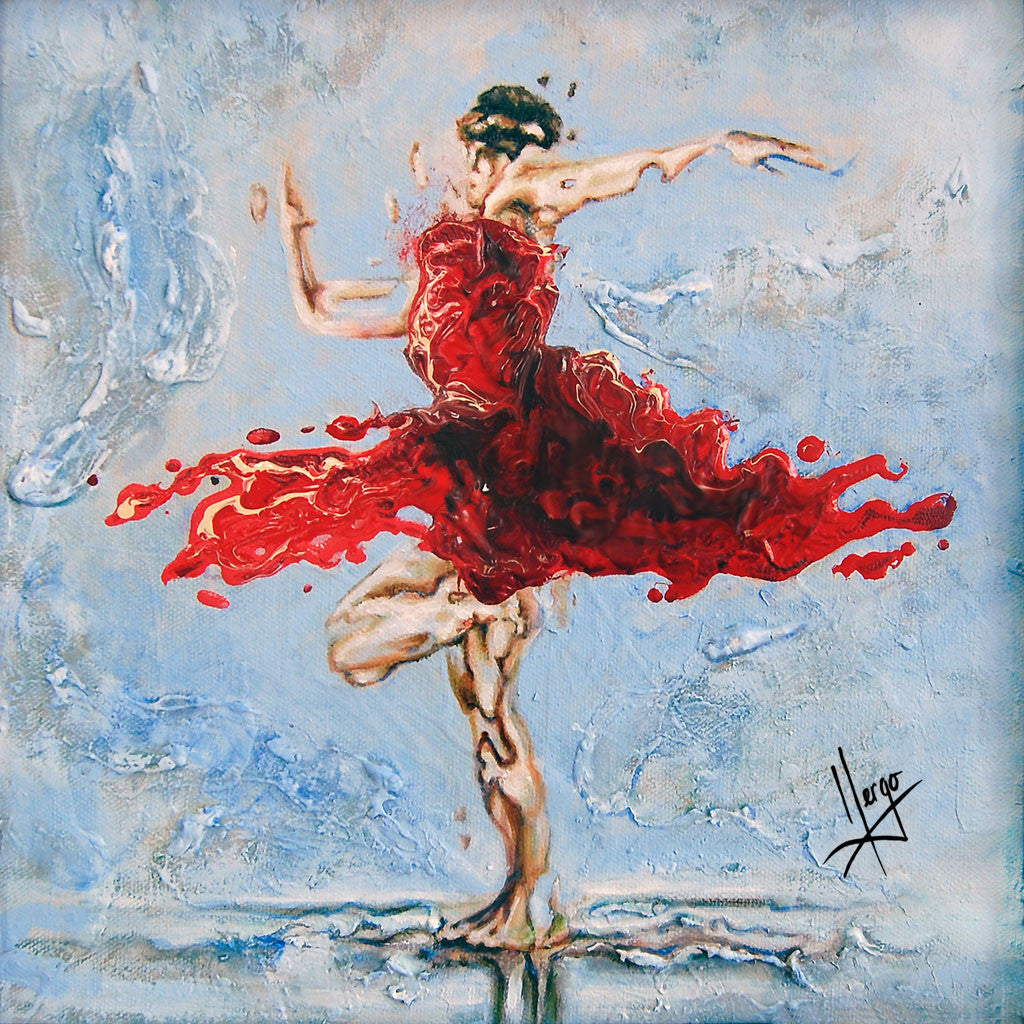 """Balance"" woman dancer with red dress painting embellished"