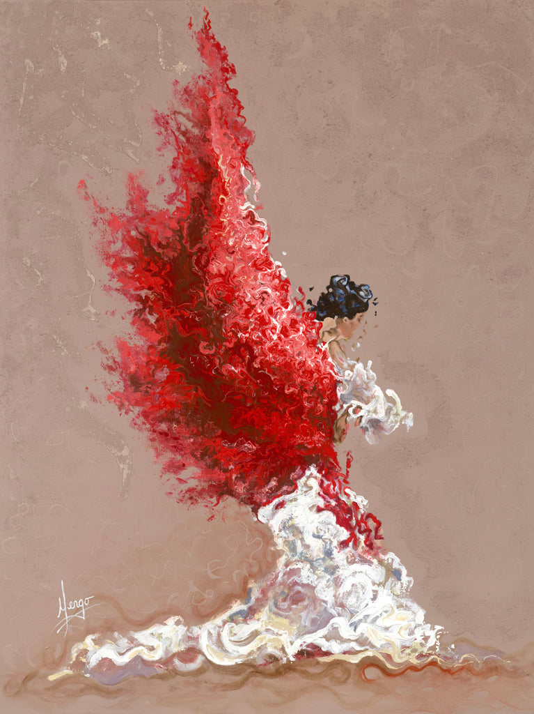 Figurative painting of a flamenco dancer with white dress and red mantel