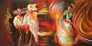 """Folklore"" colorful abstract painting of hispanic dancers"