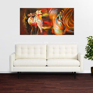 """Folklore"" room view of colorful abstract painting of hispanic dancers"