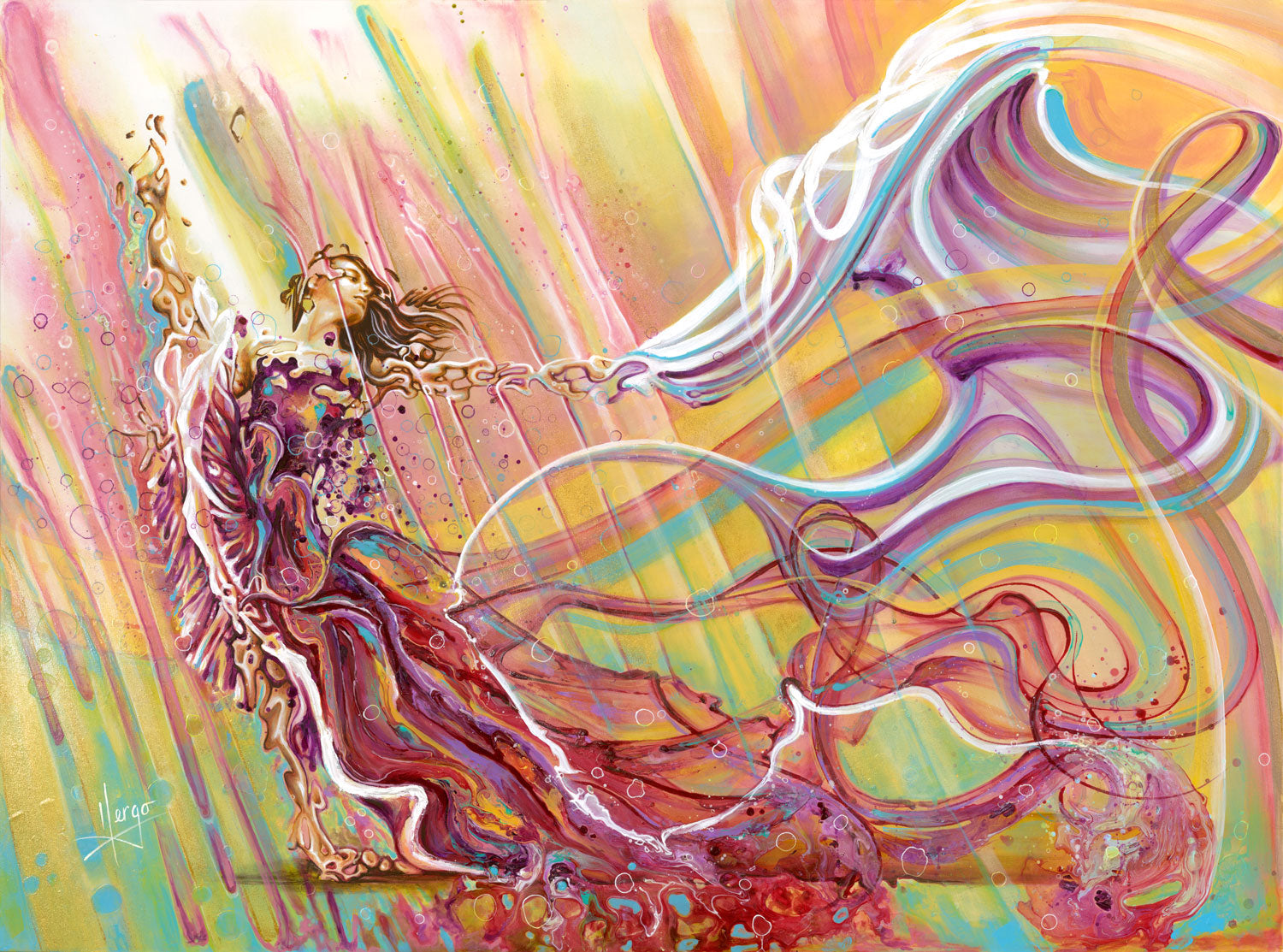"""follow your heart"" woman dancer with colorful veil painting"