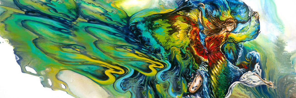 Freedom, Surreal Colorful abstract figurative painting of a woman floating