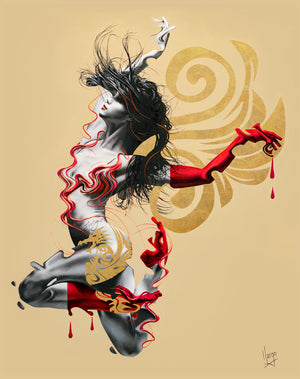 Fuego - fire woman figure painting with dragon in red and gold