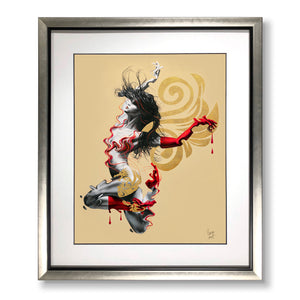 Framed art print of Fire woman painting with dragon