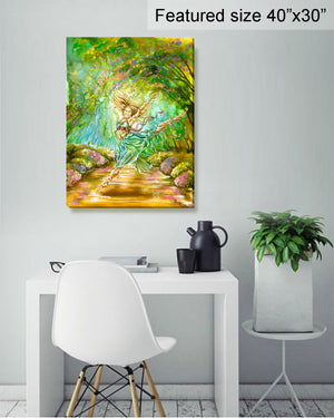 """Joy"" colorful painting of a woman dancing in a Spring landscape room view"