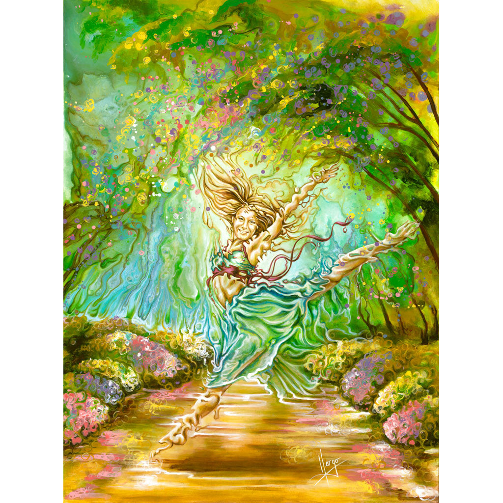 Figurative Painting of a dancer woman in the forest with nature in spring