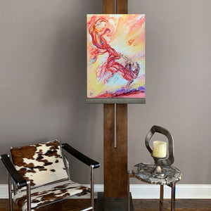 """live forward"" woman dancer with red veil colorful painting room view"