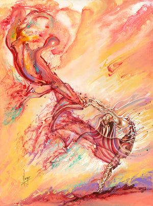 """live forward"" woman dancer with red veil colorful painting"