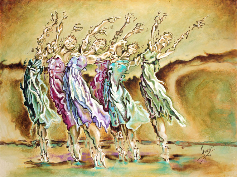Abstract Figurative Inspirational Painting Of Ballerina Dancers In Violet Green Blue And Ochre Color