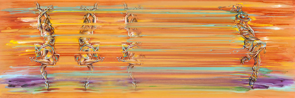 Contemporary Abstract Figurative Painting of dancers in motion