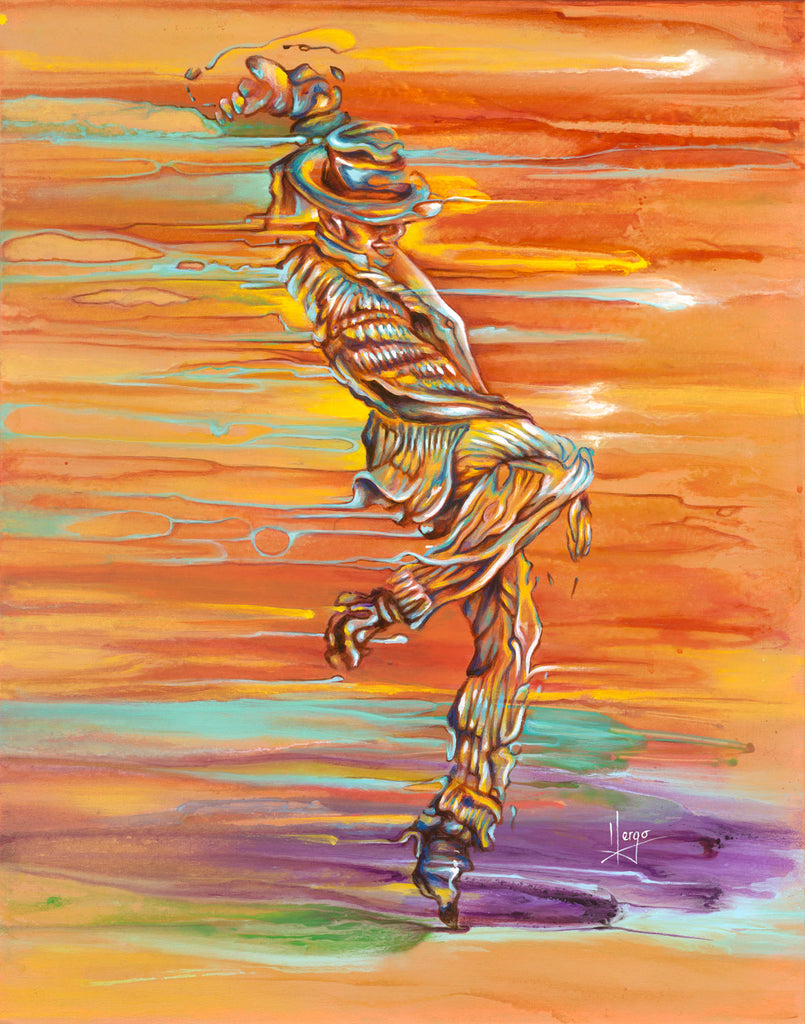 Step up painting of a man dancer in orange and yellow. Canvas art print for sale