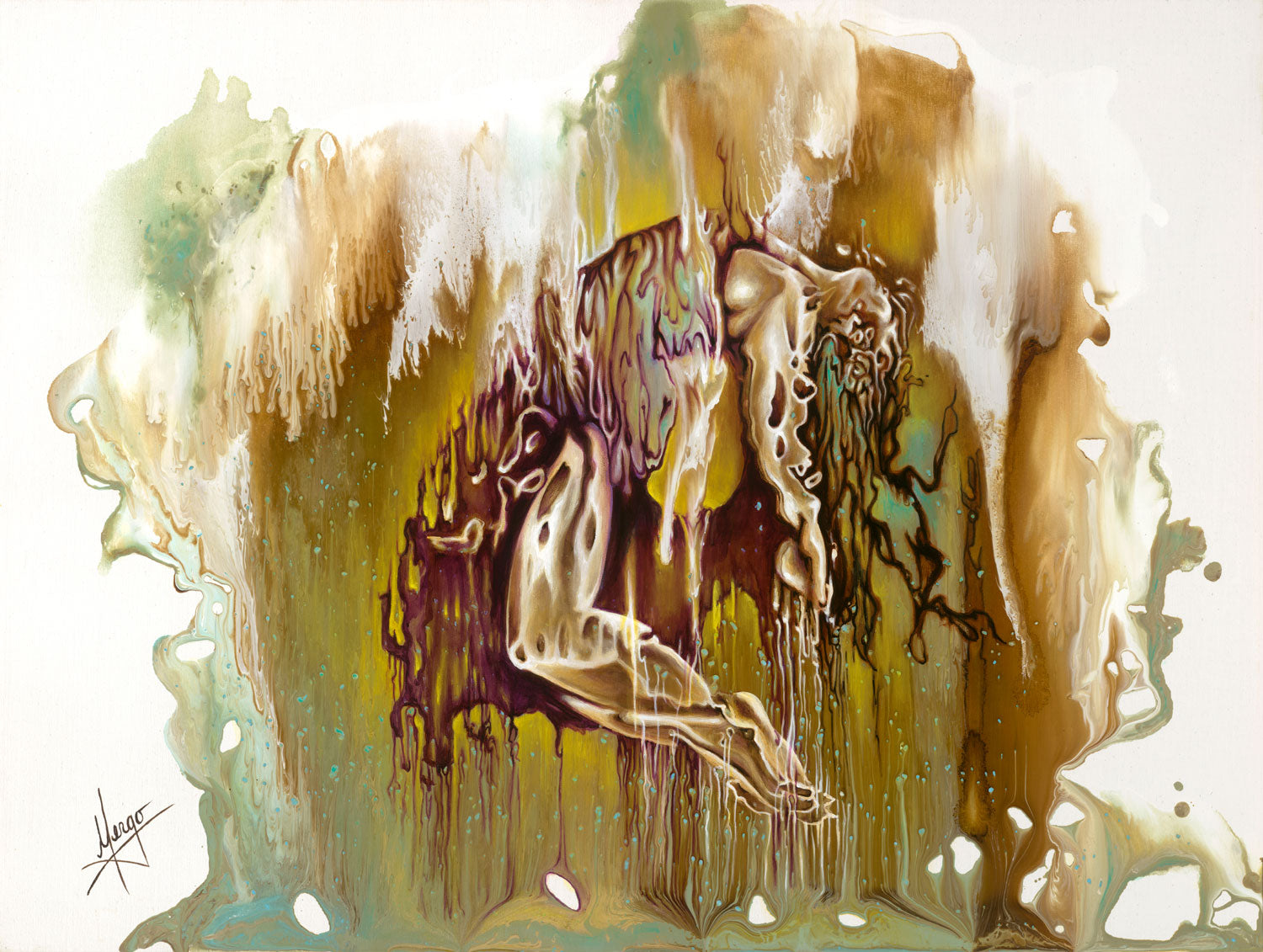 """Surrender"" abstract figurative painting of a woman suspended in the air with drippings"