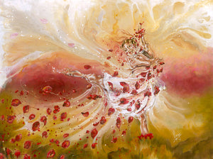 Take my breath away, figure painting of a dancer girl with flower petals. Canvas art print for sale