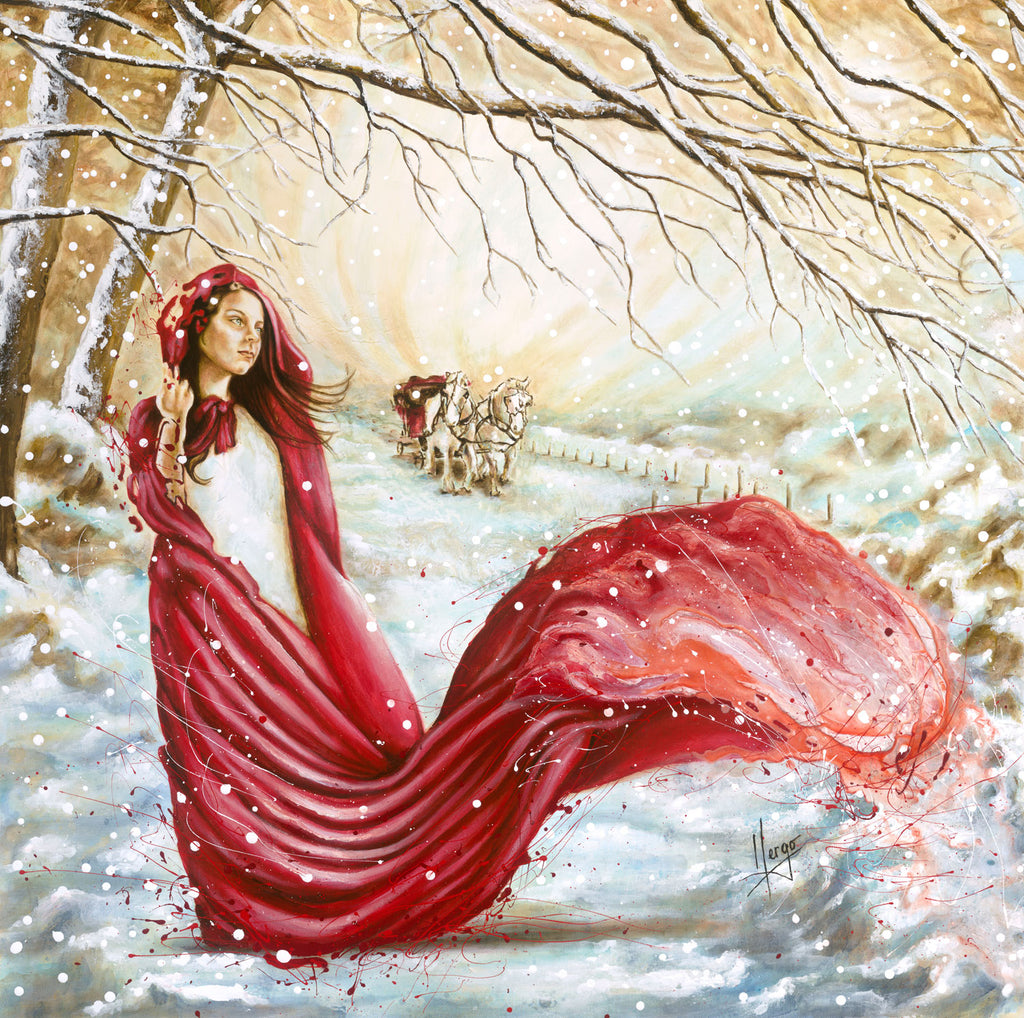 Figure painting of a woman with red hood flowing with landscape on winter scenery and horse -art canvas print for sale