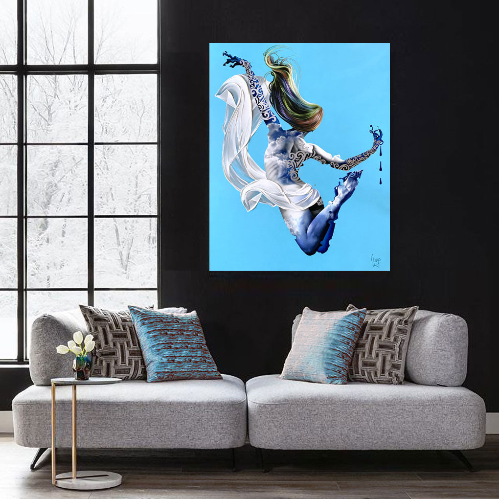 Aire - Air woman painting floating with clouds and white veil in blue
