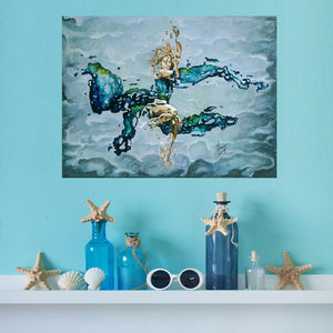 """Dream"" room view of woman underwater abstract figurative painting in blue"