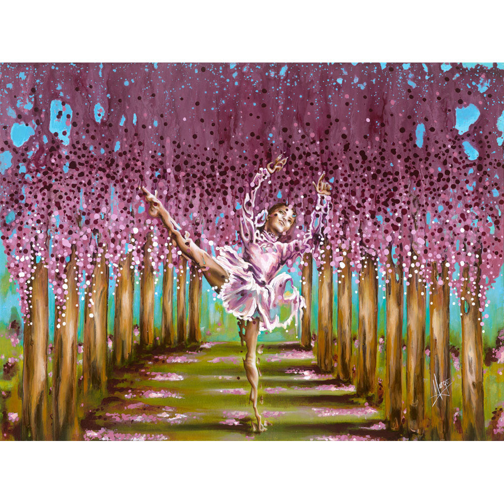 Figurative painting of a girl ballerina dancing in the woods with the blossom of the spring season, violet, green and pink colors