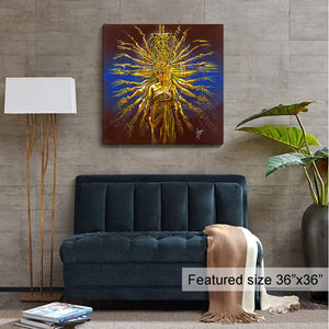 """hands of compassion"" abstract painting of a thousand hand dancer in blue and yellow room view"