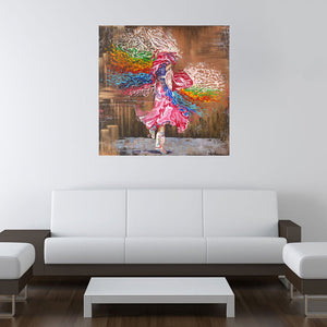 """Dance through the colors of life"" native dancer with colorful shawl painting dancer room view"