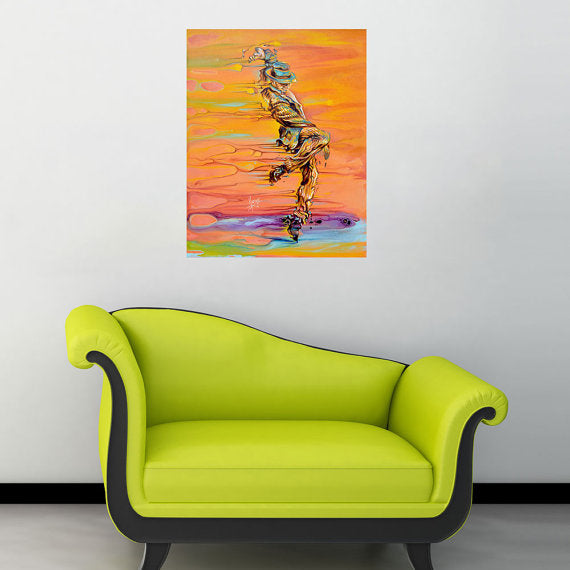 """Step Up"" male dancer painting with orange and yellow"