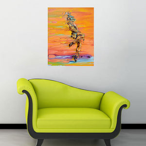 """Step Up"" male dancer painting with orange and yellow room view"