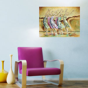 """reach beyond limits"" figurative painting of colorful ballerina dancers painting room view"