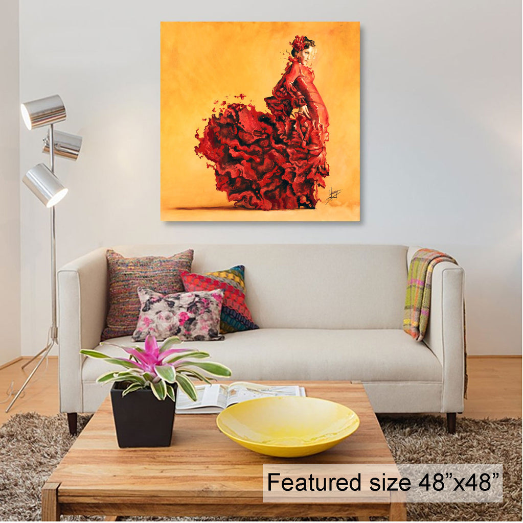 """Passion"" flamenco painting room view"