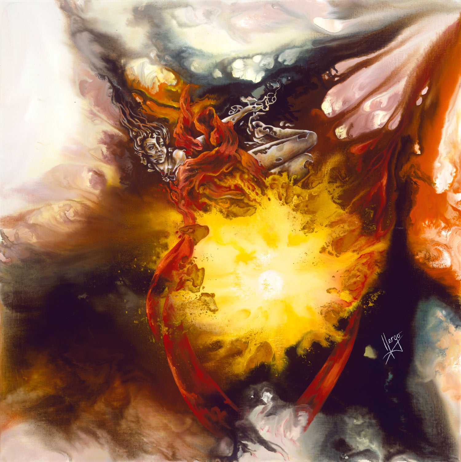 """Source of Strength"" abstract painting of a woman flying around the center of the source of life"