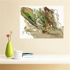 """Explore"" room view of abstract figurative painting of a woman underwater"