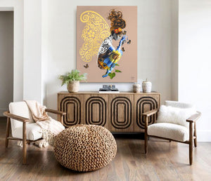 Earth woman painting with butterflies and flower in a room