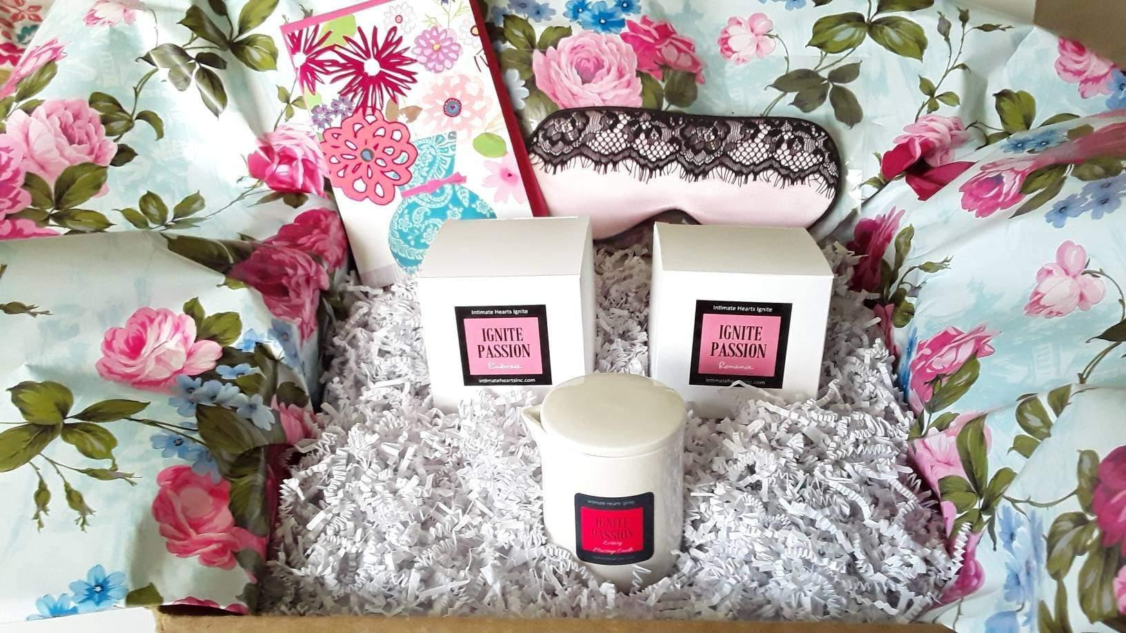 Day at the spa, luxury spa massage candle gift set - Intimate Hearts Ignite Passion