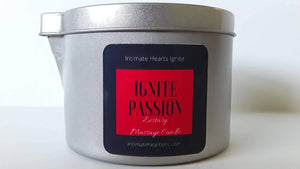 Massage candle Ignite Passion, sensual massage body oil, butter, lotion, Aromatherapy essential oils 7 OZ - Intimate Hearts Ignite Passion