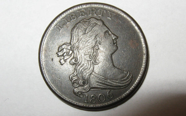 1806 Draped Bust Half Cent  AU-53 - Of Coins & Crystals