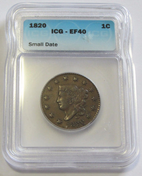 1820 Large Cent  ICG XF-40 - Of Coins & Crystals