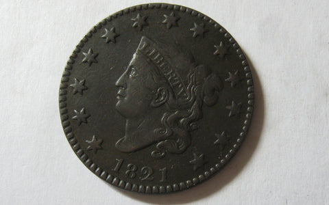 1821 Coronet Large Cent  VF-35 - Of Coins & Crystals