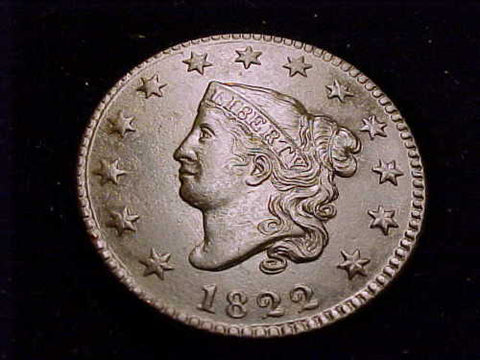 1822 Large Cent  AU-58 - Of Coins & Crystals