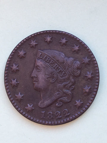 1822 Large Cent  XF-45 - Of Coins & Crystals