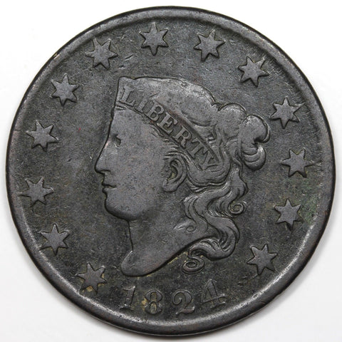 1824 Large Cent  F-12 - Of Coins & Crystals