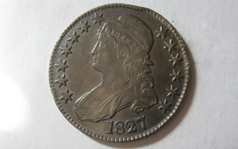 1827 Capped Bust Half Dollar  XF-45 - Of Coins & Crystals