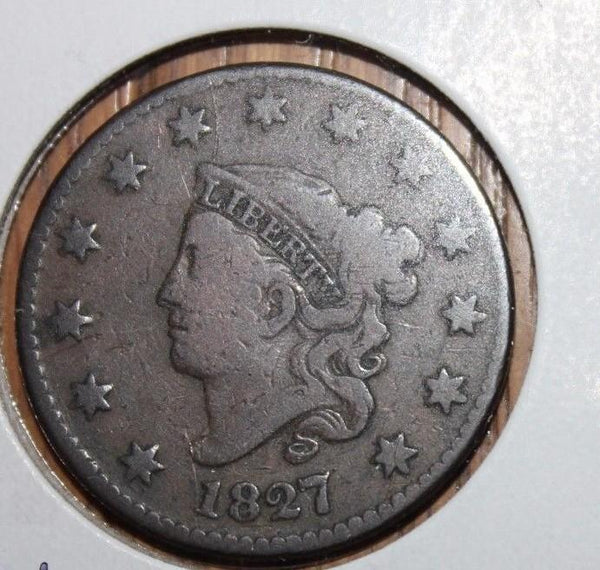 1827 Large Cent VG-8 - Of Coins & Crystals