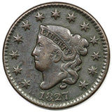 1827 Large Cent F-15 - Of Coins & Crystals