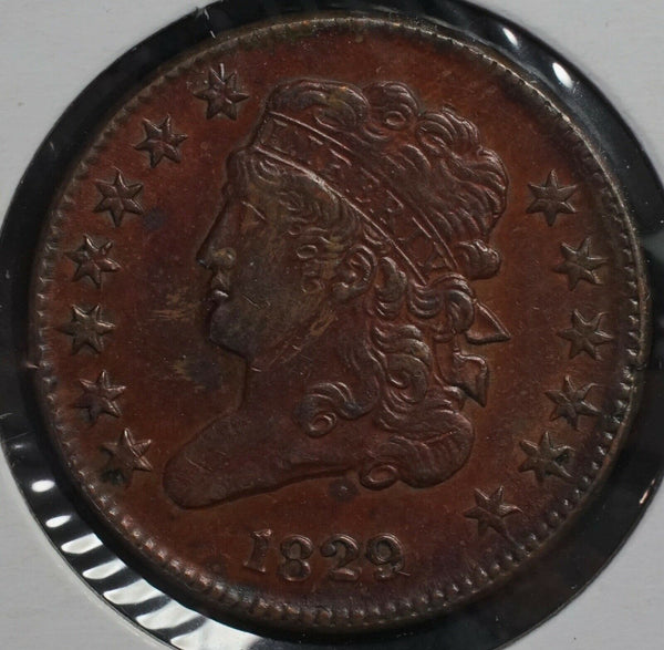 1829 Classic Half Cent AU-58 - Of Coins & Crystals