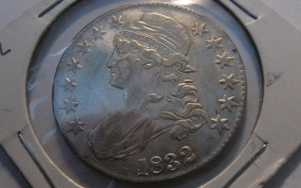 1832 Capped Bust Half Dollar.  AU-50 - Of Coins & Crystals