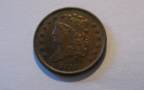 1832 Classic Half Cent  AU-55 - Of Coins & Crystals