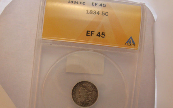 1834 Capped Bust Half Dime.  ANACS XF-45 - Of Coins & Crystals