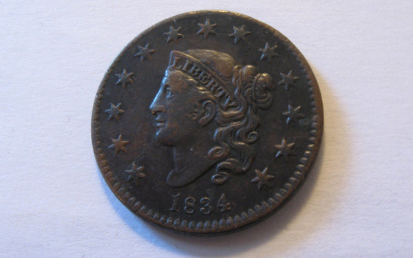 1834 Classic Head Large Cent.  XF-40 - Of Coins & Crystals