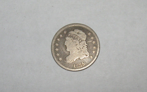 1835 Capped Bust Half Dime.  Small date, small 5c. VG-8 - Of Coins & Crystals